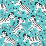 Seamless pattern with cute zebras Stock Images
