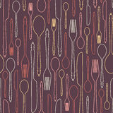 Seamless pattern with cutlery 1 Royalty Free Stock Image