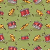 Seamless Pattern with Cymbals and Drums Royalty Free Stock Image