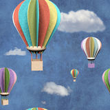 Seamless pattern with 3d air balloons. In blue sky Stock Image