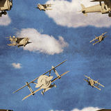 Seamless pattern with 3d airplanes. In blue sky with clouds royalty free illustration