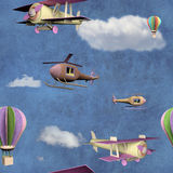 Seamless pattern with 3d airplanes. Seamless pattern with flying transportation toys Royalty Free Stock Image