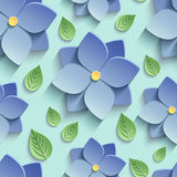 Seamless pattern with 3d blue flowers and leaves. Beautiful trendy nature background seamless pattern with blue stylized summer 3d flowers violets and green Stock Photo