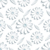 Seamless pattern with 3d chamomille and leaf Stock Images