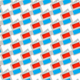 Seamless pattern with 3d cinema white glasses, vector illustration. Royalty Free Stock Photo