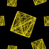 Seamless pattern 3D cube of interwoven lines yellow, network,  illustration Royalty Free Stock Photos