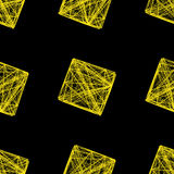 Seamless pattern 3D cube of interwoven lines yellow, network,  illustration Stock Photos