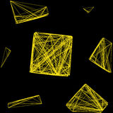 Seamless pattern 3D cube of interwoven lines yellow, network,  illustration Royalty Free Stock Images