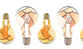 Seamless pattern of 3d Illustration of light bulb with burning candle cut from paper on white background. Vector texture for your creativity Royalty Free Stock Image