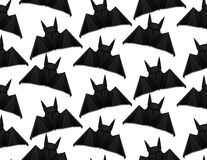 Seamless pattern with 3d illustration of origami bat on white background. Halloween. stock illustration