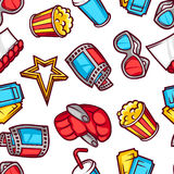 Seamless pattern of 3d movie elements and cinema objects in cartoon style Stock Photos