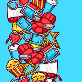 Seamless pattern of 3d movie elements and cinema objects in cartoon style Royalty Free Stock Photo