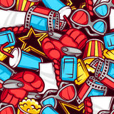 Seamless pattern of 3d movie elements and cinema objects in cartoon style Stock Image