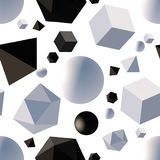 Pattern with 3d shapes. Seamless pattern with 3d primitives. Abstract background with isometric cube, ball, octagon and pyramid. Black and white tileable vector Stock Photo