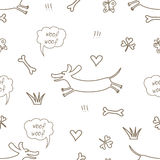Seamless pattern with the dachshund. Seamless doodle pattern with the dachshund Stock Photography