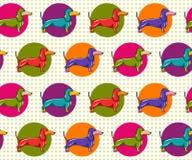 Seamless Pattern with Dachshund stock illustration