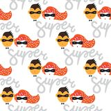 Seamless pattern Dad and Mom super heroes illustration royalty free illustration