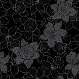 Seamless pattern with daffodils on black background. Hand-drawn Royalty Free Stock Image