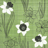 Seamless pattern with daffodils. Hand-drawn   illustration Stock Photography