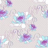 Seamless pattern with dahlia flowers. Royalty Free Stock Photo