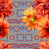 Seamless pattern of dahlia flowers with horizontal Stock Photo
