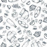 Seamless pattern dairy products, hand drawn, sketches foods. Stock Image