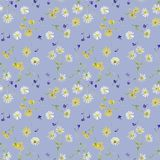 Seamless pattern of daisies and lobelias vector illustration