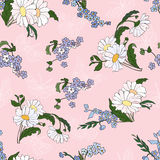 Seamless pattern with daisies. Pink floral background with pretty daisies stock illustration