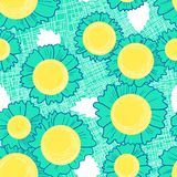 Seamless pattern with daisy flowers . Background with cute beaut. Iful blossom and leaves on fabric texture. Vector illustration for spring or summer backdrops Royalty Free Illustration