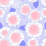 Seamless pattern with daisy flowers . Background with cute beaut. Iful blossom and leaves on fabric texture. Vector illustration for spring or summer backdrops Vector Illustration
