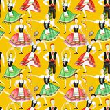 Seamless pattern Dancers in red and green national costume an Italian tarantella with a tambourine on yellow background