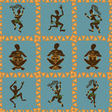 Seamless pattern of dancing African aborigines Royalty Free Stock Photography