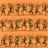 Seamless pattern of dancing African aborigines Royalty Free Stock Photos