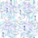 Seamless pattern with dancing ballerinas on a floral background. Vector Stock Image