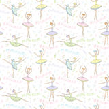 Seamless pattern with dancing ballerinas on a floral background. Vector Stock Photos