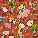 Seamless pattern with dancing boys and  little fairies.  Stock Images