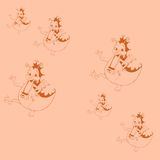 Seamless pattern with dancing dragons. Stock Photos