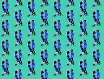 Seamless pattern dancing  funk couple. Stock Photography