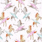 Seamless pattern of dancing horses Stock Photos