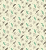 Seamless pattern dandelion leafs and seeds - vector eps8 Royalty Free Stock Photo