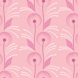 Seamless pattern with dandelion in pink and dots Royalty Free Stock Photos