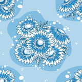 Seamless pattern dark blue flowers bouquet. Vector background Stock Photo