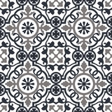 Seamless pattern dark blue and white moroccan ornaments. Royalty Free Stock Photography