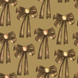 A seamless pattern with a dark bows decorated by jewel, painted in colored pencils in sepia color on a sepia background Royalty Free Stock Image