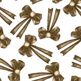 A seamless pattern with a dark bows decorated by jewel, painted in colored pencils in sepia color on a white background Stock Image