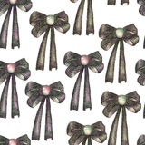 A seamless pattern with a dark bows decorated by jewel, painted in colored pencils on a white background Royalty Free Stock Images
