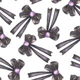 A seamless pattern with a dark bows decorated by jewel, painted in colored pencils on a white background Stock Photography