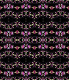 Seamless pattern dark brown pink violet green. Abstract geometric seamless background. Dark brown diamond pattern with various elements in pink, violet, gray and Stock Illustration