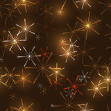 Seamless pattern on dark gold background. With original stars or snowflakes Royalty Free Stock Images