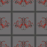 Seamless pattern dark grey tiles with vintage floral ornament in the center Royalty Free Stock Image